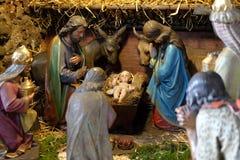Nativity scene. Creche, or crib, birth of Jesus in Barmherzigenkirche church in Graz, Styria, Austria royalty free stock photography