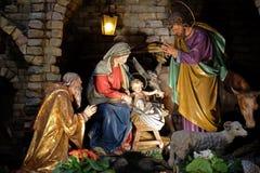 Nativity scene. Creche, or crib, birth of Jesus in Franciscan Church in Graz, Styria, Austria Stock Photography