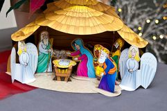 Nativity scene. Cut out in paper Royalty Free Stock Photos