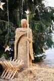 Nativity scene, detail, in Conegliano Veneto, Italy. Nativity scene made of hay and Christmas tree, in Cima square, Accademy theatre, in Conegliano Veneto Stock Photos