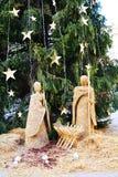 Nativity scene, details, in Conegliano Veneto. Nativity scene made of hay and Christmas tree, in Cima square, in Conegliano Veneto, Treviso province, Italy Royalty Free Stock Image