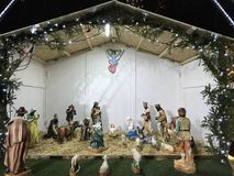 The birth of Jesus Crist scene. The nativity scene on display in Budapest, Undaria - represented with antique statues stock photography