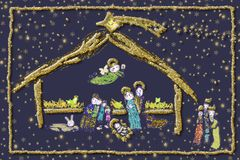 Nativity Scene Cheerful greeting card. Nativity Scene drawn by a small child style. Nativity Scene, Baby Jesus, Maria and Joseph with the shepherds and the Stock Photos