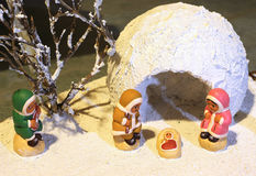 Nativity scene with the Eskimos on pole Royalty Free Stock Photography