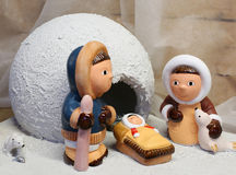 Nativity scene with the Eskimos to the north pole Stock Images
