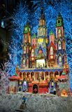 A nativity scene exposed at Notre Dame De Paris cathedral during Christmas period. Stock Photo
