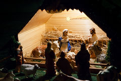 Nativity scene with figurines Royalty Free Stock Images