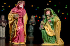 Nativity scene figurines of the Magi. Christmas traditions. Royalty Free Stock Photography