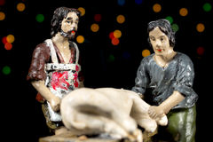 Nativity scene figurines of shepherds. Christmas traditions. Royalty Free Stock Photography