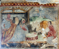 Nativity Scene. Fresco paintings in the old church Stock Photos