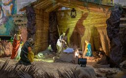 Nativity scene at Greek Orthodox Church of the Annunciation royalty free stock image
