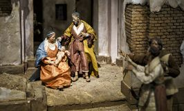 Nativity Scene Hand Crafted Figures royalty free stock photo