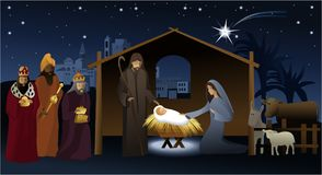 Nativity scene with Holy Family Stock Images