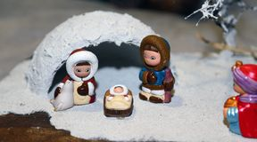 Nativity scene with Holy Family and an Eskimo igloo Royalty Free Stock Photos