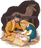 Nativity scene with holy family, Jesus, Mary and Joseph Stock Image
