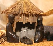 Nativity scene with Holy Family in a manger in Africa Stock Images