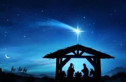 Nativity Scene With The Holy Family. In Stable And Star stock photography