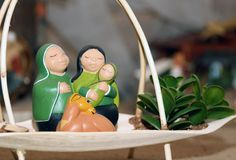Nativity scene with Holy Family in South American style Royalty Free Stock Image