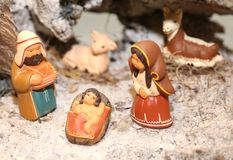 Nativity scene with Holy Family in South American style Royalty Free Stock Images