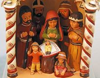 Nativity scene with Holy Family in South American style Stock Photo