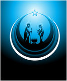 Nativity scene icon. Icon depicting the nativity scene in blue Stock Photos