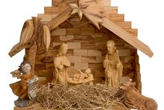 Nativity Scene isolated on white. Nativity Scene made of wood, isolated on white royalty free stock images