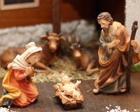 Nativity scene with Jesus, Joseph and Mary 6 Royalty Free Stock Photos
