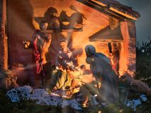 Nativity scene Jesus kid statue close up manger. Family symbol stock images