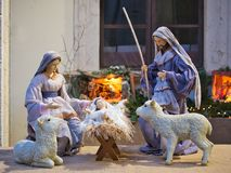 Nativity scene Jesus kid statue close up manger. Family symbol royalty free stock images