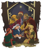 Nativity scene Jesus, Mary, Joseph and Three Kings. Christmas illustration of the birth of Jesus Christ with Joseph and Mary accompanied by the three wise men in Stock Photography