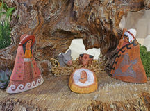 Nativity scene in Latin America with baby Jesus and the holy fam Stock Images