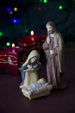 Nativity Scene with Lights and Candles Stock Images