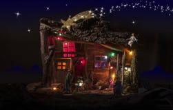 Nativity scene with lights Royalty Free Stock Photo