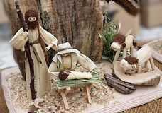 Nativity scene made of corn husks Stock Photos