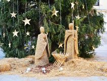 Nativity scene made of hay Stock Images