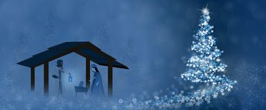 Christmas time - Nativity scene. Nativity scene with Mary, Joseph and baby Jesus in Christmas landscape Royalty Free Stock Photography