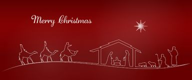 Christmas time - Nativity scene. Nativity scene with Mary, Joseph, baby Jesus, shepherds and three kings Stock Images