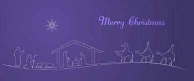 Christmas time - Nativity scene. Nativity scene with Mary, Joseph, baby Jesus, shepherds and three kings Stock Photography