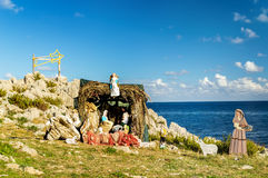 Nativity Scene on the Mediterranean Sea Royalty Free Stock Images