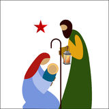 Nativity scene. Mother father Baby star Stock Image