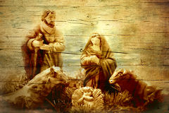Nativity Scene in old wooden texture Royalty Free Stock Photography