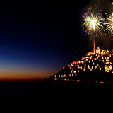 Nativity scene opening with fireworks - Manarola, Cinque Terre, Italy. Stock Images