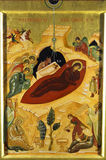 The Nativity. Nativity scene painted on gold leaf, with the virgin Mary in the centre and other named characters around royalty free stock photos