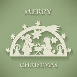 Nativity scene. Paper cut Christmas background Stock Images