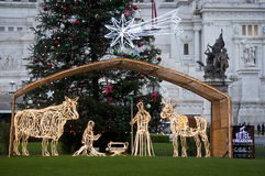 Nativity scene at Piazza Venezia royalty free stock photos
