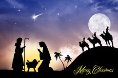 Nativity scene postcard Royalty Free Stock Images