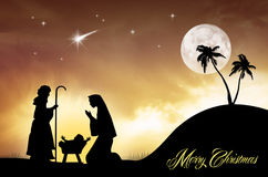 Nativity scene postcard Stock Photography
