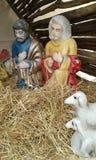 Nativity scene, Rethymno. Natavity scene. Rethymno.  Crete. Greece. Three wise men. Two sheep Stock Image
