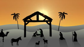 Nativity scene with rising sun