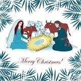 Nativity scene with saint family and animals. Cartoon  Royalty Free Stock Photography